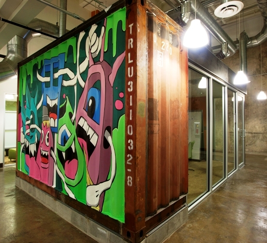 Greg mike 39 s recycled shipping container art project - Container art studio ...